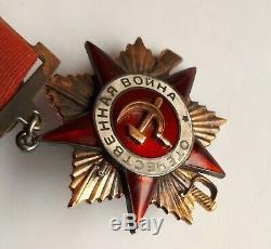 14k Gold Siler Enamels Soviet Russian Order Of Patriotic War 1 Class Document