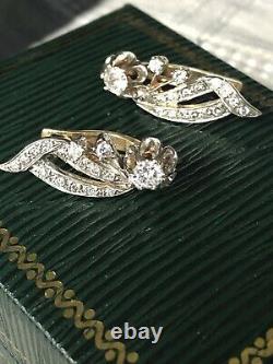 14k White Yellow Gold European Vintage Diamond Earrings Russian/Soviet