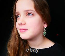 1920s Soviet Russian Dangle Earrings 56 Green 14K Gold Imperial Jade Diamonds 9g
