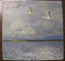 1946 Original Russian Soviet Art Artist Social Realism Oil Painting Swans