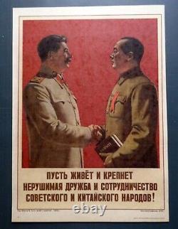 1956 Joseph Stalin Mao Zedong China Original Poster Russian Soviet 30x40 Rare