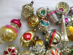 33 Antique OLD Vintage USSR Russian Glass Christmas Ornaments Xmas Decorations