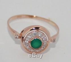 Adorable ring russian USSR jewelry Rose Gold 14K 585 2.16g S-18,0 31318