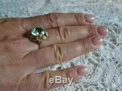 Amazing Ring Aquamarine Russian Jewelry Vintage USSR Gold 14K 583 Star Stamp