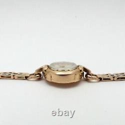 Antique Russian Soviet 14K Rose Gold and Platinum K100 Ladies Wind Up Watch 7in