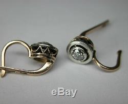 Antique Soviet Russian 583 14k Rose Gold Diamond Earrings