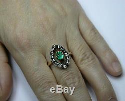 Antique Soviet Russian 750 18k Gold Emerald Diamond Ring Vintage