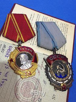 Authentic SOVIET RUSSIAN LENIN SET ORDER BADGE GOLD & PLATINUM MEDALS #283703