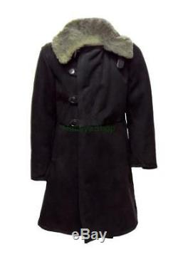 Bekesha Black Russian Officer Winter Sheepskin Coat Army USSR Jacket TULUP