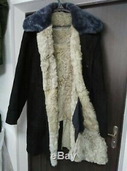 Bekesha Shearling Jacket Russian Army Officer Winter Sheepskin Coat USSR BLACK