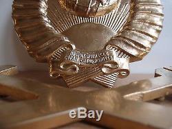 CCCP Coat Arms Train LOCO 9=23cm State EMBLEM RAILWAY Metal Plaque Russian USSR