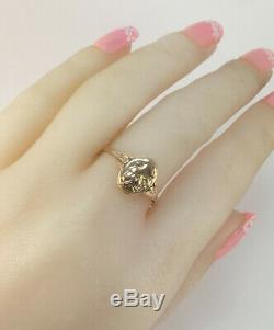 Chic Rare Vintage Ring Cameo USSR Russian Solid Rose Gold Antique 583 14K Size 8