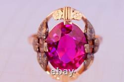Cute Vintage Original USSR Russian Soviet Rose Gold Ring Corundum 583 14K Size 7