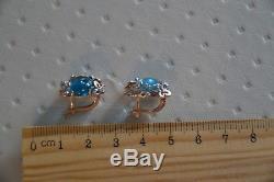 Earrings NEW Russian Solid Rose Gold 14K 585 USSR fine jewelry blue topaz 5.68g