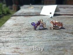 Earrings Rose Gold 14K NEW Russian fine jewelry USSR style 585 3.84g amethyst