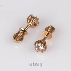Earrings Russian gold Solid Rose gold 14K 585 diamond 1.88g stud Soviet USSR