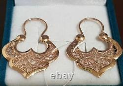 Earrings crowns (sudarushka) Russian gold Rose 14K 585 NEW USSR Soviet style