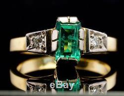 Emerald Diamond Ring 18K Yellow Gold 750 Russian USSR Soviet Union Vintage