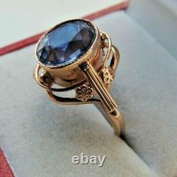 Fanatic Vintage Soviet Russian 583,14k Solid Gold Ring Size 8