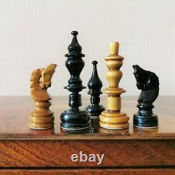 Fastship Book chess set Soviet russian wooden intarsia Vintage USSR antique