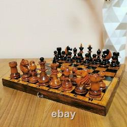 Fastship old 40-50s soviet chess set Wooden Russian Vintage USSR antique