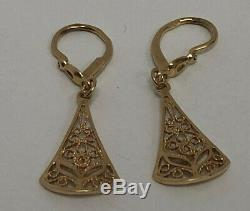 Filigree Earrings Vintage russian Soviet USSR jewelry Gold 14K 585 Star