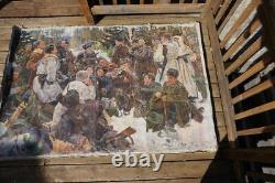 Huge Vintage Russian Ww2 Painting Rest After The Battle Soviet Propaganda Art