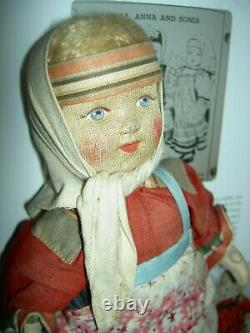 Lovely vintage, Russian cloth label Soviet Union stockinette 10 doll, all orig