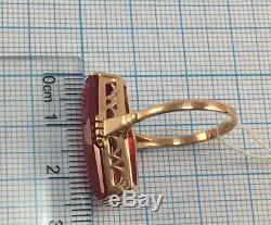 Luxury Vintage Marquise USSR Russian Soviet Solid Gold Ring Ruby 583 14K Size 9