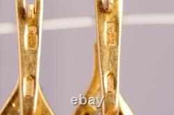 Luxury Vintage Soviet USSR Russian GOLD Earrings YAKUTIA Diamond 585 14K 0.2ct