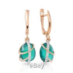 NEW Russian fine jewelry Earrings USSR style Solid Rose Gold 14K 585 3.32g agate