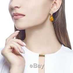 NEW Russian fine jewelry Earrings USSR style Solid Rose Gold 14K 585 3.75g amber
