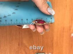 NEW Vintage Russian style soviet USSR 14k 583 gold Earrings. Ruby Large