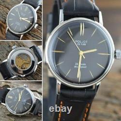 New! Poljot De Luxe Extra SLIM Watch Men's Vintage Russian USSR Stainless Case
