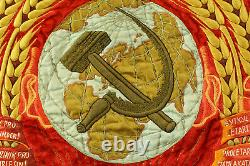 Old rare Soviet/Russian velvet/embroidery red flag with Kirov, 1936-39