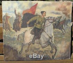 Original Vintage Russian Oil Painting Chapaev In Battle Soviet Propaganda Art