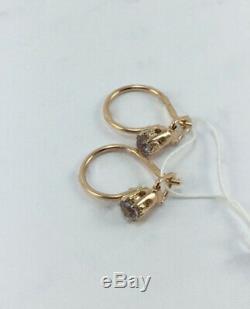 ROYAL ALEXANDRITE Vintage Rare USSR Soviet Unique Earrings Russian Gold 583 14k