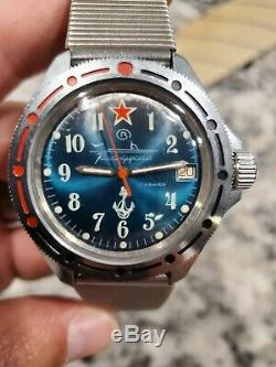 RUSSIAN MILITARY WATCH VOSTOK CCCP USSR SOVIET 80s BOCTOK Submariner Lined dial