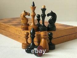 Rare 1950 Vintage USSR Soviet Russian Wooden Chess Set Folding Board