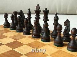 Rare 1980 Vintage USSR Soviet Russian Wooden Chess Set Folding Board