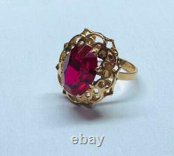 Rare Ring Russian Soviet Star Vintage USSR Jewelry Gold 14K 583 Large Ruby