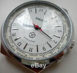 Rare Soviet Russian Mechanical Hand-Winding Watch Raketa 24 Hours Travellar