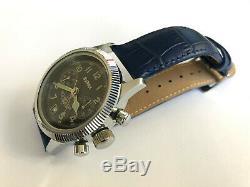 Rare Vintage BURAN POLJOT Chronograph 3133 Black Military USSR Russian Watch #2