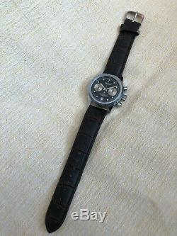Rare Vintage BURAN POLJOT Chronograph 3133 Black Military USSR Russian Watch #8