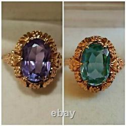 Rare Vintage Ring Alexandrite Solid Rose Gold 583 14K Star Russian Soviet USSR