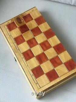 Rare Vintage USSR Soviet Russian Wooden Chess Set Folding Board Antique