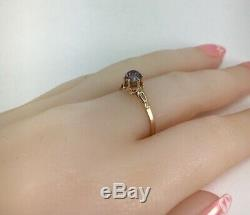 Rare Vintage Unique USSR Russian Soviet Gold Ring Alexandrite 583 14K Size 8.5