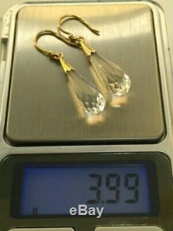 Rare Vtg Earrings Silver 875 USSR Natural Rock Crystal Star Stamp Russian Soviet