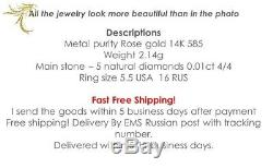Ring Solid Rose Gold 14K Vintage russian Soviet USSR jewelry 2.1g diamond sz 5.5