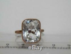 Rock Crystal Ring Vintage Soviet Russian Jewelry Gilt Sterling Silver 875 Size 9